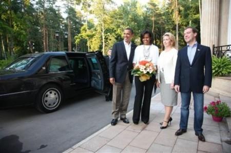 "Wearing jeans to meet POTUS is Medvedev's way of saying ""I'm KEWL too!"" (AP Photo/RIA-Novosti, Mikhail Klimentyev, Presidential Press Service)"
